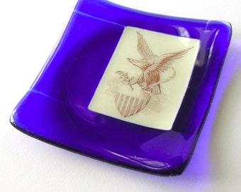 American Eagle - Fused Glass Decor - True Blue - Small Dish - Patriotic Decor - 4th of July