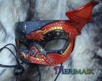 READY TO SHIP Red Dragon Starry Night Mask... original leather masquerade costume galaxy mardi gras halloween burning man starry night