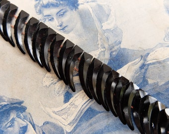 24 Antique Black Glass Nail Heads Beads Two Hole Victorian Fangs Claws Daggers