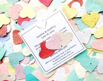 150 Seed Wedding Favors - Plantable Paper Hearts Seed Packets - Custom Options - Personalized Cards - Birds Leaves and Flowers