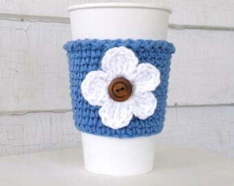 White Flower on Denim Blue Coffee Takeout Cup Sleeve Cozy
