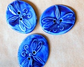 3 Big and Bold Handmade Ceramic Dragonfly Buttons - Bold Blue Stoneware Dragonflies - Handmade Buttons - Knitting Supplies