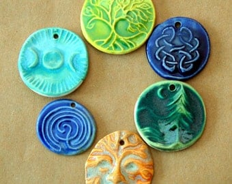 6 Handmade Ceramic Beads - Spiritual and Rustic set of Summer Pendants - Perfect for Summer Festivals - Greenman, Triple Goddess, Labyrinth