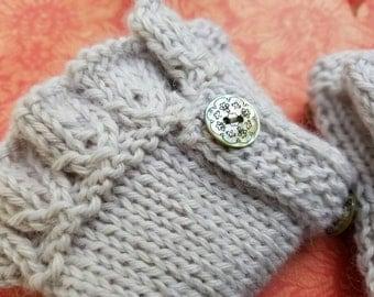 Baby Alpaca Handknit Fingerless Silver Gloves.