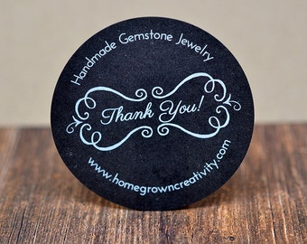 Customized Stickers - White Print on Chalkboard Black Labels Kraft Brown - Curly Ornate Border Thank You Design