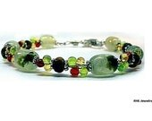 Green Garnet and Tigers Eye Bracelet, Chakra Bracelet, Sterling Silver Green Prehnite Tigers Eye - B2010-09A