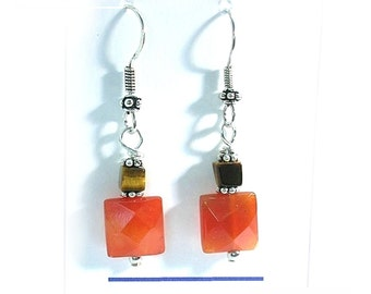 Orange Carnelian Earrings Carnelian and Tiger Eye Earrings E2010-27