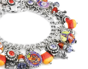 Halloween Bracelet, Corn Candy Glass Charms, Halloween Jewelry, Candy Charms, Halloween Bracelet