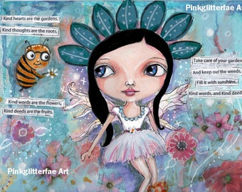Flower fairy, garden fairy,  Whimsical art,  Children's art, Home decor, 8 x 10 print, big eyed girl, inspirational art,