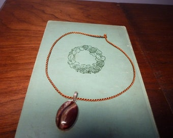 Destash Treasure - Picture Jasper Gemstone Pendant set in Silver with Large Bail Comes on Rust Color Silk Twist Necklace