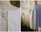 Vintage Antique 1900 /1910 Edwardian linen  shirt / nightgown   monogram  M size S/M/L