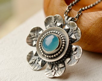 Silver Nature Inspired Necklace, Blue Chalcedony Necklace, Textured Botanical Metalwork Necklace,Unique Silver Necklace, Silversmith Jewelry