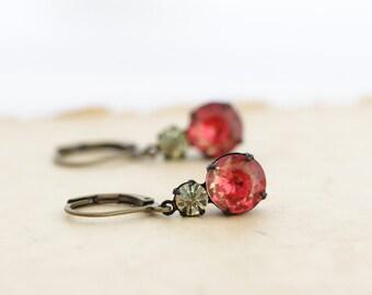 Gift For Her, Orange Crystal Earrings, Vintage Jewel Earrings, Glass Drop Earrings, Red Orange Earrings, Elegant Earrings, Colorful Earrings