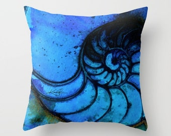 Sea Shell Pillow, Blue Nautilus shell Pillow, Ocean Pillow, Nautilus Art, Painting, Watercolor, Kathy Morton Stanion  EBSQ