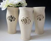 Cursive Monogram Vase - Personalized Anniversary Gift. Wedding,  bridesmaid gift - handmade to order