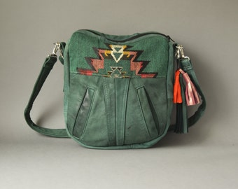 The TUNDRA green leather handbag  / Hobo Green leather with southwestern fabric