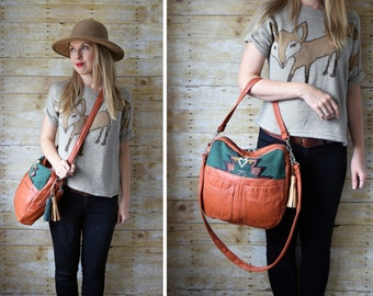 The TUNDRA rust leather handbag  / Hobo orange rust leather with southwestern fabric
