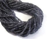 New Iolite Faceted Rondelle Beads, 3.5-4mm Faceted Iolite Gemstones, 6.5 Inch Strand, Necklace Rondelles, Jewelry Supplies (R-Io3)