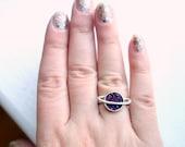 Purple Saturn Druzy Ring- Handmade in Sterling Silver