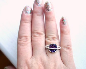 Purple Saturn Druzy Ring- Handmade in Sterling Silver
