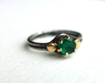 Beautiful Emerald in 14k Gold on Sterling Silver Band