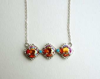Triple Sunrise Crystal and Turquoise Row Pendant in Sterling Silver Handmade by Rachel Pfeffer
