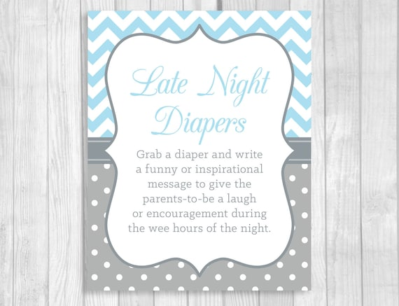 Italian Boy Name: Printable 5x7 8x10 Late Night Diapers Baby Shower Sign In