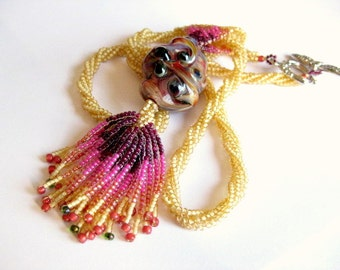One of a Kind beadwoven tassle necklace, herringbone stitch rope artisan lampwork focal
