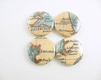 4 Vintage England Scotland, Travel Map, Edinburgh, Liverpool, Lancaster,Newcastle, Cute Magnets, Wine Charms, brown, blue, 1103