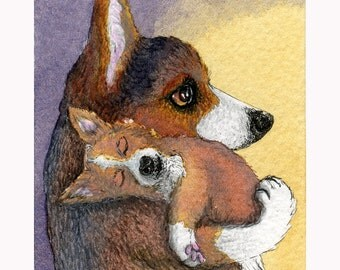 Welsh Corgi dog pup dreaming 8x10 signed art print he'd had a busy day hard at work playing sleeping dreaming mother and child Susan Alison