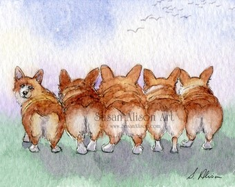 Welsh Corgi dog 5x7 8x10 11x14 art print Enid Blyton five corgi butts from Susan Alison watercolor painting Pembroke bob tailed fluffybutts