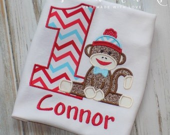 Sock monkey birthday shirt, Monkey Birthday shirt, Sock Monkey shirt, Boy birthday shirt, Girl Birthday shirt,  sew cute creations