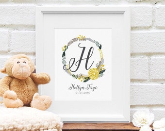 Nursery Art Print, Personalized Monogram, Gray and Yellow Nursery Decor, Floral Art, Baby Shower Gift, Feather Wreath Monogram First Initial