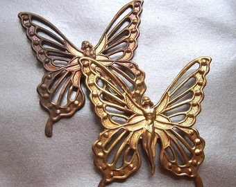 ON SALE Butterfly Fairy Dapped Antiqued Pierced Stamping 7cm or 3 inches 2 Pcs