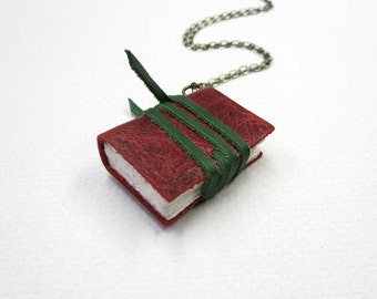 Mini diary on a chain, book pendant necklace, one of a kind charming little hand-bound journal, paper goods, handmade, miniature book