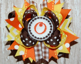 Monogram Fall Bow - Thanksgiving Bow - Personalized Bow - Toddler Bow - Baby Bow - Infant Bow - Headband Bow
