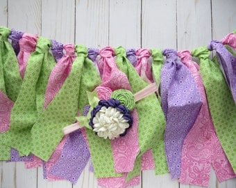 Purple Pink and Green Banner and Matching headband combo