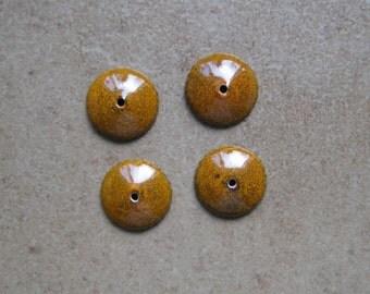 Enamel Bead Caps - Bead Caps - SueBeads - Marigold Round Bead Caps - Enameled Bead Caps