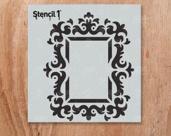 "Rococo Frame 2 Stencil- Reusable Craft & DIY Stencils- S1_01_213_S -Small-(5.75""x6"")- By Stencil1"