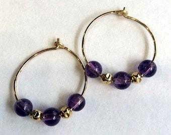 Gold filled beaded earrings, amethyst earrings, stone earrings, small hoop earrings, purple earrings, hoop earrings - Purplicious E8009