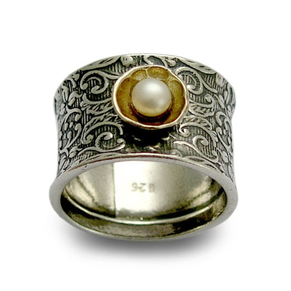 Sterling Silver Ring, Silver Filigree Band Ring, Silver Gold Ring, White Pearl Ring, June Birthstone, Botanical Ring - Superstition R1206C