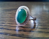 sterling silver ring, chalcedony ring, hand forged ring, green chalcedony ring, statement ring