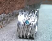 Spinner ring, Meditation ring, London blue topaz ring, semi precious gemstone ring, sterling silver wide band ring, recycled silver