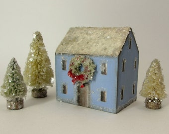 Handmade Wooden Blue House with Wreath Set- Christmas Village- Three Trees- Natural Mica Snow