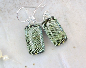 Petite Dichroic Glass Earrings, Glass Jewelry, Dangle, Green, Gold, Sterling Silver, A6