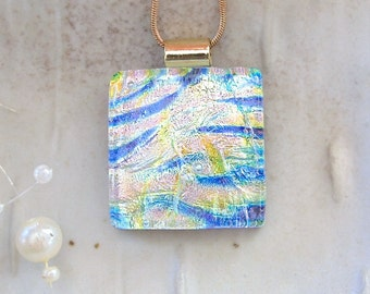 Dichroic Glass Pendant, Fused Glass, Jewelry, Necklace Included, One of a Kind, A7