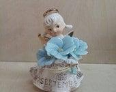 Vintage 1950s Lefton's Birthday Angel 'September' Morning Glory Sapphire