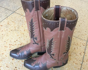 Vintage Cowboy Boots Stovepipe Brown Feathers Size 9 Women's Austin Hall Custom Made cowgirl boots