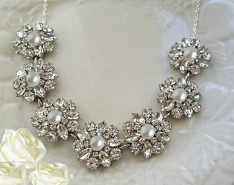 Crystal and Pearl, Wedding Statement necklace, Bridal jewelry, Rhinestone necklace with Pearls Wedding Jewelry, Chunky silver Necklace