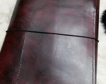 Large Maroon Leather Writing Journal  Plus Free Custom Stamping Perfect Gift for Traveller Writer